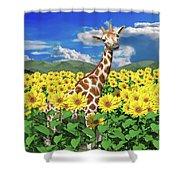 A Friendly Giraffe Hello Shower Curtain