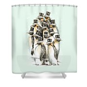 A Gathering In The Snow Shower Curtain