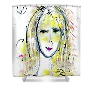 A Girl By The Artist Catalina Lira Shower Curtain