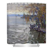 A Gray Fall Day At Fishermans Park Shower Curtain