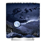 A Haunted Mountain Pass Shower Curtain