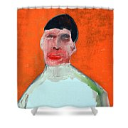 A Man With An Orange Background Shower Curtain