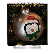 A Merry Christmas Greeting Shower Curtain