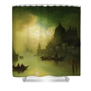 A Moonlit Night Over Venice Shower Curtain