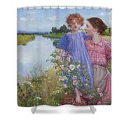 A Mother And Child By A River With Wild Roses 1919 Shower Curtain