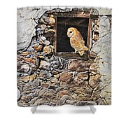 A New Home Barn Owl Shower Curtain by Alan M Hunt