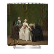 A Nobleman Kissing A Lady S Hand  Shower Curtain