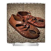 A Pair Of Roman Sandals Made Of Leather Shower Curtain