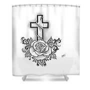 A Rose And A Cross Shower Curtain by Marissa McAlister