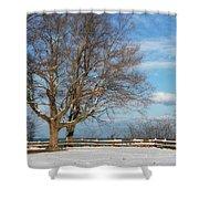 A Snowy Morning Shower Curtain by Kim Hojnacki