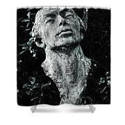 A Stone Bust In The Forest Shower Curtain