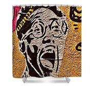 A Terrified Face On A Barcelona Wall  Shower Curtain