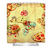 A Weathered Tailors Abstract Shower Curtain