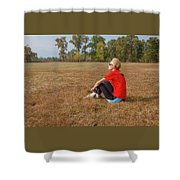A Woman Is  Sitting In A Park And Admiring The Landscape Shower Curtain