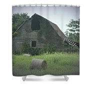 Abandoned Barn And Hay Roll 2018c Shower Curtain