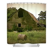 Abandoned Barn And Hay Roll 2018d Shower Curtain