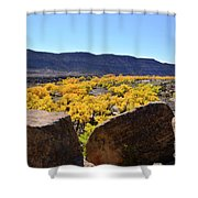 Gorgeous View Of Golden Cottonwood Trees In Canyon Shower Curtain