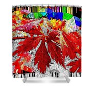 Abstract Fall Acer Stained Glass  Shower Curtain