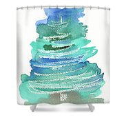 Abstract Fir Tree Christmas Watercolor Painting Shower Curtain