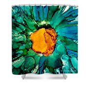 Abstract Gerbera Ink Flower Shower Curtain