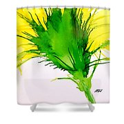 Abstract Ink Yellow Flower Shower Curtain