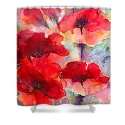 Abstract Poppies Shower Curtain