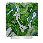 Abstract Waves Painting 0010087 Shower Curtain