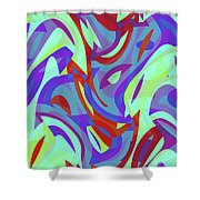 Abstract Waves Painting 0010102 Shower Curtain