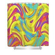 Abstract Waves Painting 0010109 Shower Curtain