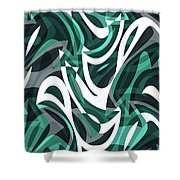Abstract Waves Painting 0010112 Shower Curtain