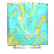 Abstract Waves Painting 0010114 Shower Curtain