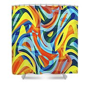 Abstract Waves Painting 007176 Shower Curtain
