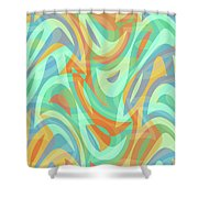 Abstract Waves Painting 007202 Shower Curtain