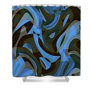 Abstract Waves Painting 007203 Shower Curtain