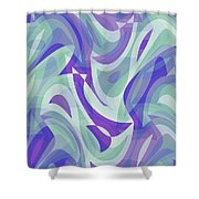 Abstract Waves Painting 007217 Shower Curtain