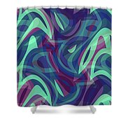 Abstract Waves Painting 007219 Shower Curtain