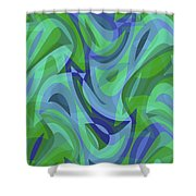 Abstract Waves Painting 007221 Shower Curtain