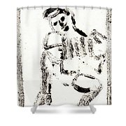 Accordion After Mikhail Larionov Black Ink Painting 1 Shower Curtain
