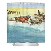 Action From A Ten Thousand Mile Motor Race Shower Curtain
