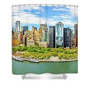 Aerial Panorama Of Downtown New York Skyline Shower Curtain