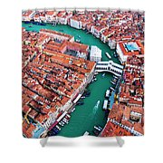 Aerial View Of Grand Canal And Rialto Bridge, Venice, Italy Shower Curtain