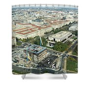Aerial View Of The Smithsonian National Museum Of African Americ Shower Curtain