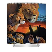African Cats Shower Curtain