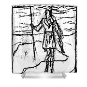 After Billy Childish Black Oil Drawing B2-7 Shower Curtain