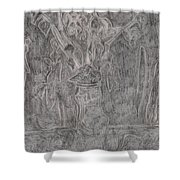 After Billy Childish Pencil Drawing 1 Shower Curtain