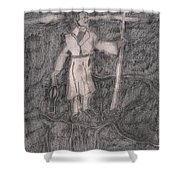 After Billy Childish Pencil Drawing 14 Shower Curtain