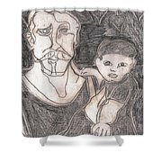 After Billy Childish Pencil Drawing 19 Shower Curtain