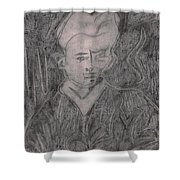 After Billy Childish Pencil Drawing 2 Shower Curtain