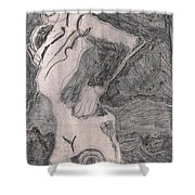 After Billy Childish Pencil Drawing 20 Shower Curtain