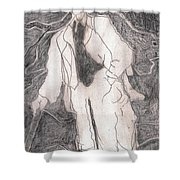 After Billy Childish Pencil Drawing 21 Shower Curtain